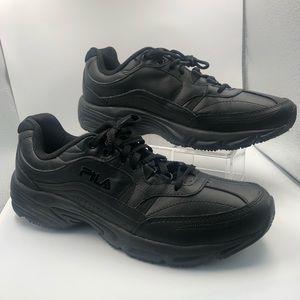 Fila Black Leather Tennis shoes Memory Foam 11.5